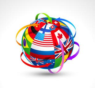 World flags sphere. Vector illustration